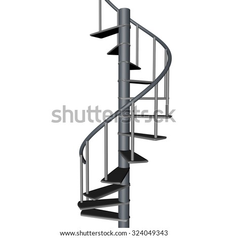 Spiral staircase, isolated over White, 3d render, square image - stock photo