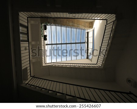 Spiral staircase. Upside view - stock photo