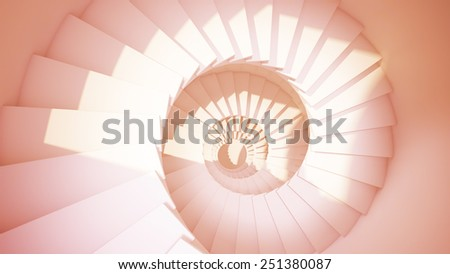 Spiral stairs in sun light sepia color abstract 3d interior - stock photo
