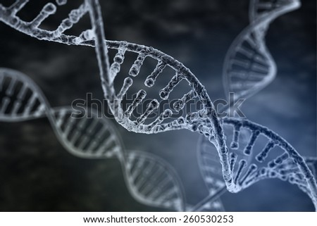 Spiral strand of DNA on the dark background - stock photo