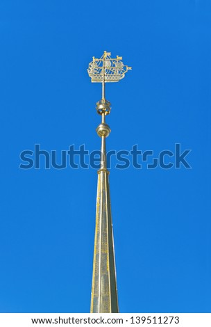 Spire with gilded shiplet ( korablik ) on the Admiralty building - simbol of Saint Petersburg, Russia - stock photo