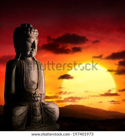 spiritual background of Asian culture with buddha  - stock photo