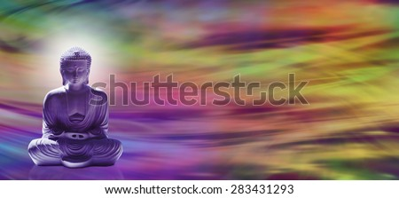 Spiritual Enlightenment - Wide banner with meditating Buddha in lotus position on left hand side and a colorful wave motion energy field in the background and plenty of copy space - stock photo