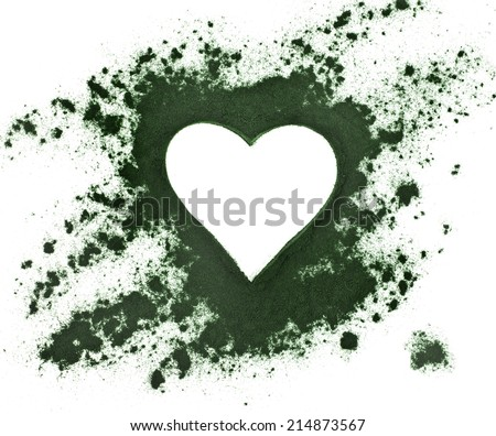 Spirulina powder - algae, nutritional supplement, shape heart surface top view isolated on white background - stock photo