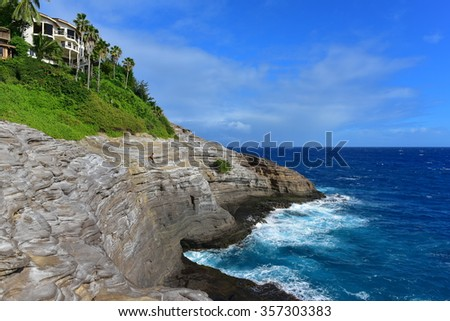 Spitting Cave of Portlock in Oahu, Hawaii - stock photo