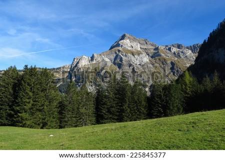 Spitzhorn, mountain near Gstaad - stock photo