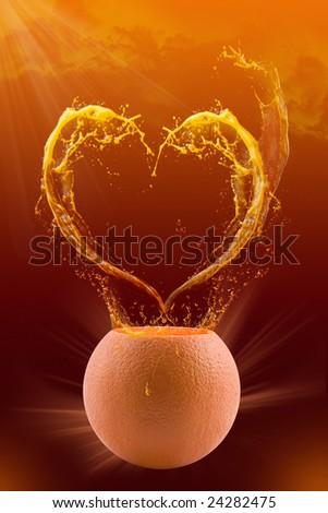 Splash in juice in the form of heart - stock photo
