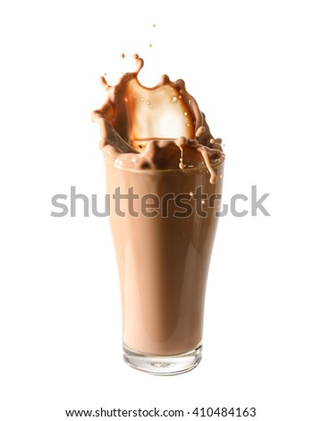 Splash of chocolate milk from the glass on isolated white  background. - stock photo
