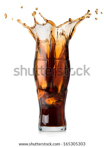 Splash of cola in a glass isolated on a white background - stock photo
