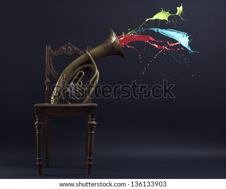 Splash of color ink out of the nozzle pipe music. The symbol of creativity and inspiration. - stock photo