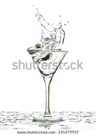 splash of fluid in a glass  - stock photo