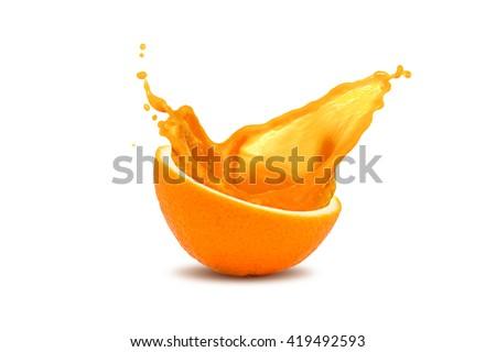 Splash of juce out of orange, isolated on white - stock photo