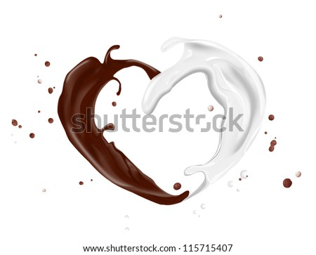 splash of milk and chocolate isolated on a white background - stock photo