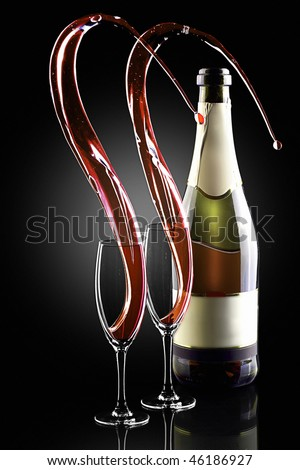 Splash of shampagne with bottle and 2 glasses - stock photo