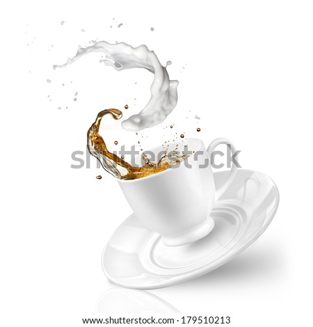Splash of tea with milk in the falling cup isolated on white - stock photo