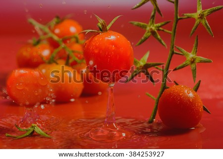 splash of water treatment for tomatoes - stock photo
