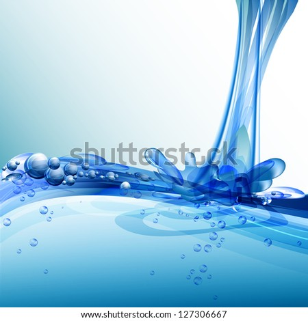 Splash of water. Water droplets on water surface. Raster version. - stock photo