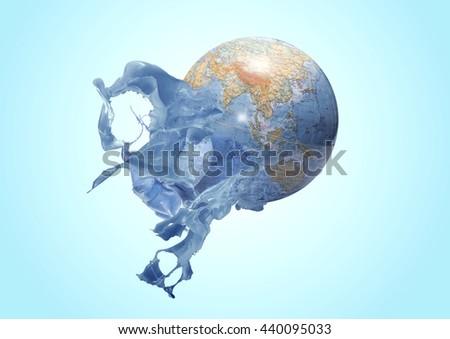 splash on planet earth 3D rendering - stock photo