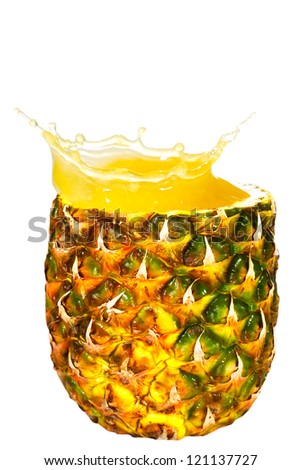 splash pineapple juice on a white background - stock photo
