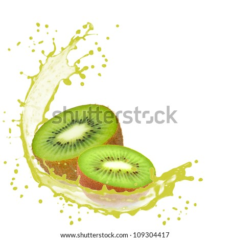 Splash with kiwi isolated on white - stock photo