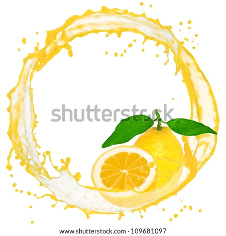 Splash with lemon isolated on white - stock photo