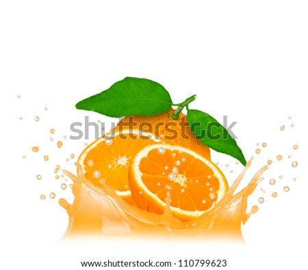 Splash with orange isolated on white - stock photo