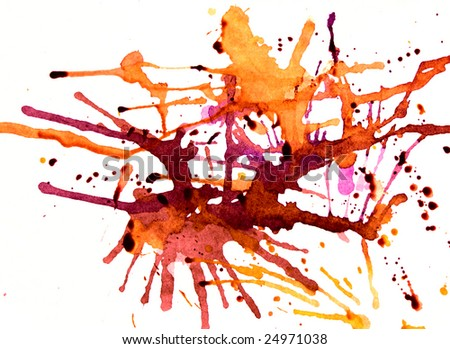 Splashes of amber on white with some wet ink drops - stock photo