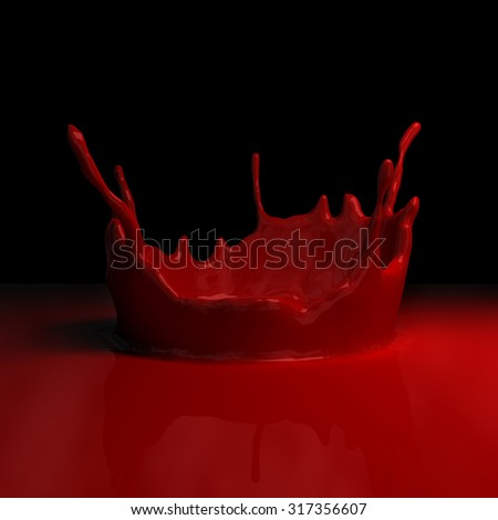 Splashes of red liquid - stock photo