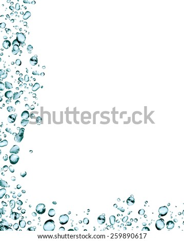 Splashes on white. Picture frame made from lot of blue water drops - stock photo