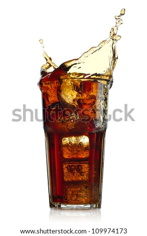 Splashing cola in glass. Isolated on white background - stock photo