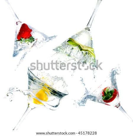 splashing into a martini glass - stock photo