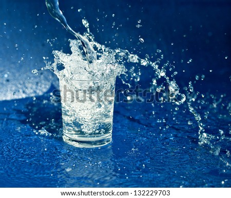Splashing water from glass - stock photo