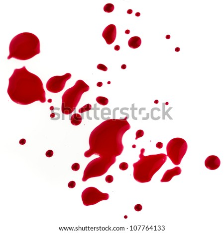 Splattered blood stains isolated on a white background - stock photo