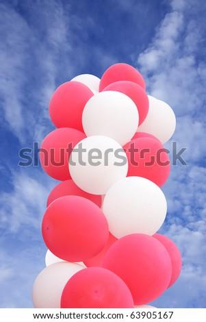 splendid balloons on the sky - stock photo