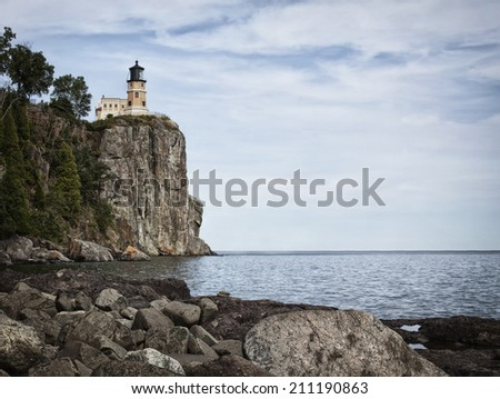 Split Rock Lighthouse on the north shore of Lake Superior. - stock photo