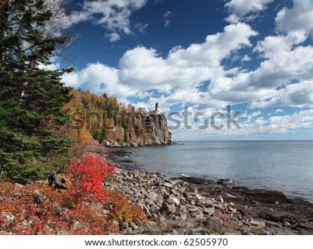 Split Rock Lighthouse on the north shore of Lake Superior at fall season - stock photo