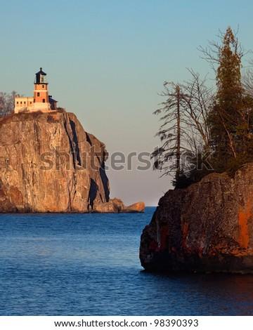 Split Rock Lighthouse on the North Shore of Lake Superior, Minnesota - stock photo