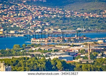 Split suburbs Vranjic and Kastela aerial view, Dalmatia, Croatia - stock photo