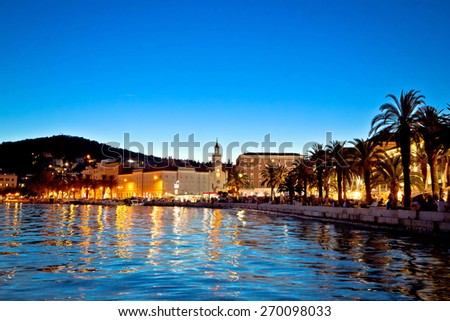 Split waterfront evening view, Dalmatia, Croatia - stock photo