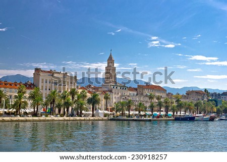 Split waterfront palm promenade and Diocletian Palace view, Dalmatia, Croatia - stock photo
