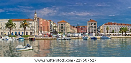 Split waterfront Peristil panoramic view, Dalmatia, Croatia - stock photo