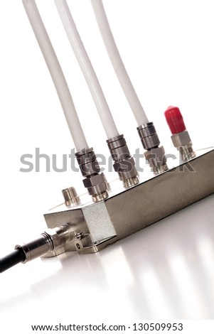 Splitting of satellite signal.  CATV splitter - stock photo