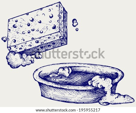 Sponge and bowl of water. Doodle style. Raster version - stock photo