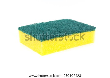 sponge for cleaning isolated on white - stock photo