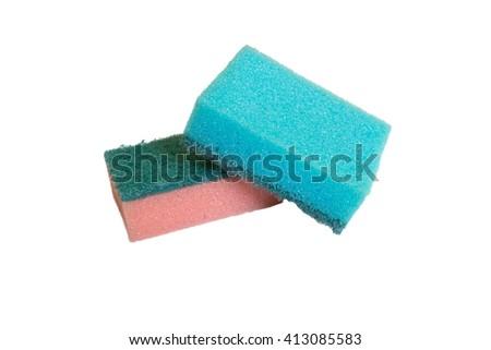 Sponge for washing dishes - stock photo