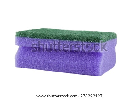 Sponge for washing utensils isolated on a white background - stock photo