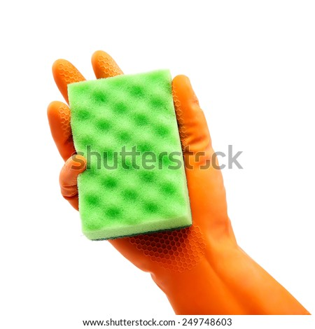 Sponge in hand with a rubber glove isolated on white background. - stock photo