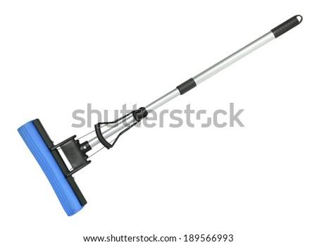 Sponge mop isolated on white background - stock photo