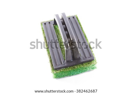 Sponge with holder for ware washing - stock photo