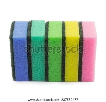 sponges for dishwashing isolated on a white background - stock photo